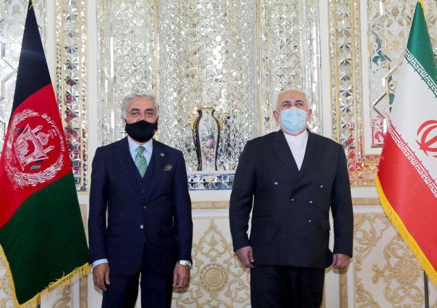 دیدار عبدالله عبدالله با جواد ظریف، وزیر خارجه ایران