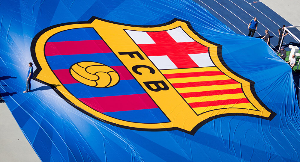 Логотип футбольного клуба Барселона на Олимпийском стадионе в Берлине в преддверии финала Лиги чемпионов между Ювентусом и Барселоной, 4 июня 2016 года