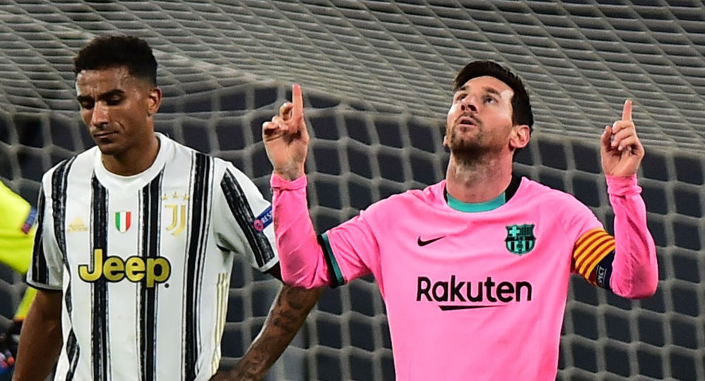 Soccer Football - Champions League - Group G - Juventus v FC Barcelona - Allianz Stadium, Turin, Italy - October 28, 2020  Barcelona's Lionel Messi celebrates scoring their second goal