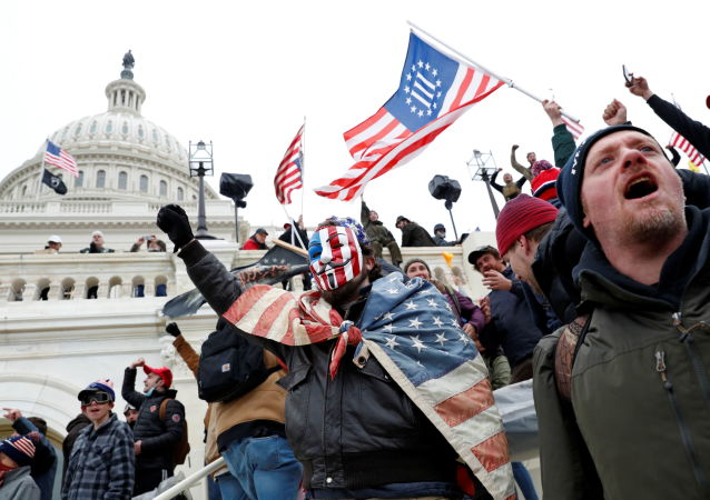 Protesters clash with Capitol police during a rally to contest the certification of the 2020 U.S. presidential election results by the U.S. Congress, at the U.S. Capitol Building in Washington, U.S, January 6, 2021.