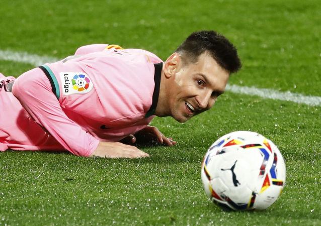 El delantero del FC Barcelona Lionel Messi durante el partido contra el Valladolid