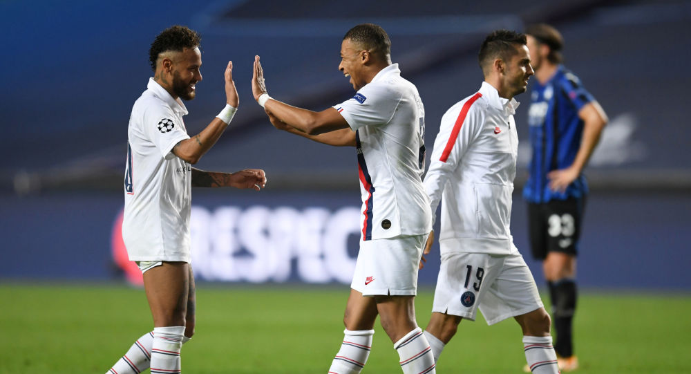 Paris St Germain's Neymar and Kylian Mbappe celebrate after they orchestrated a late comeback to knock out Atalanta.