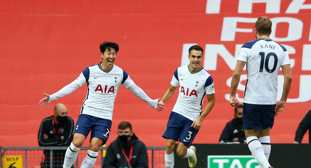 Tottenham Hotspur's Son Heung-min celebrates scoring their second goal with teammates with Harry Kane and Sergio Reguilon