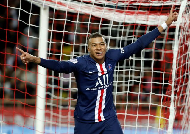 Soccer Football - Ligue 1 - AS Monaco vs Paris St Germain - Stade Louis II, Monaco - January 15, 2020   Paris St Germain's Kylian Mbappe celebrates after scoring a goal that is later disallowed