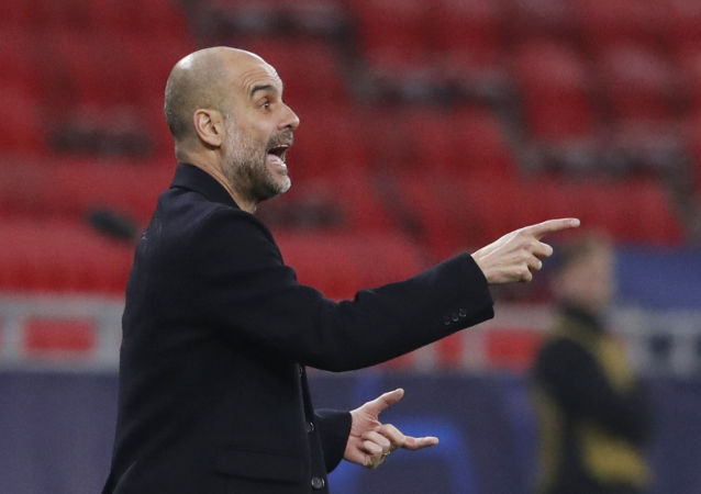 Soccer Football - Champions League - Round of 16 First Leg - Borussia Moenchengladbach v Manchester City - Puskas Arena, Budapest, Hungary - February 24, 2021 Manchester City manager Pep Guardiola reacts