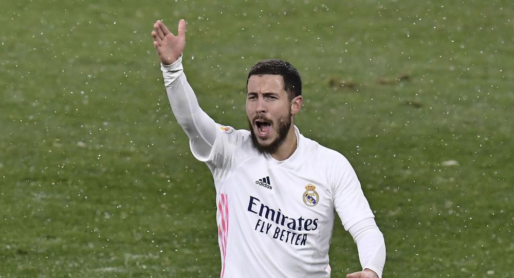 Real Madrid's Eden Hazard protests during a Spanish La Liga soccer match