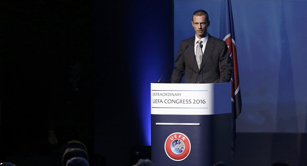 Newly elected UEFA President Aleksander Ceferin of Slovenia delivers a speech during the Extraordinary Congress in Athens, Greece September 14, 2016