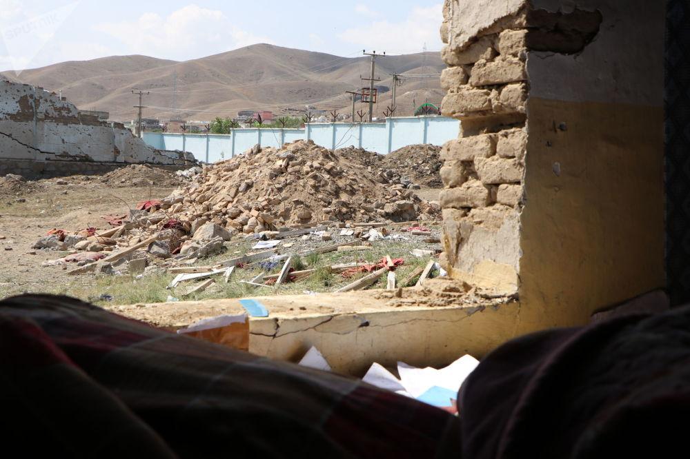 مخروبههای ساختمانها در نزدیکی محل انفجار موتربم
