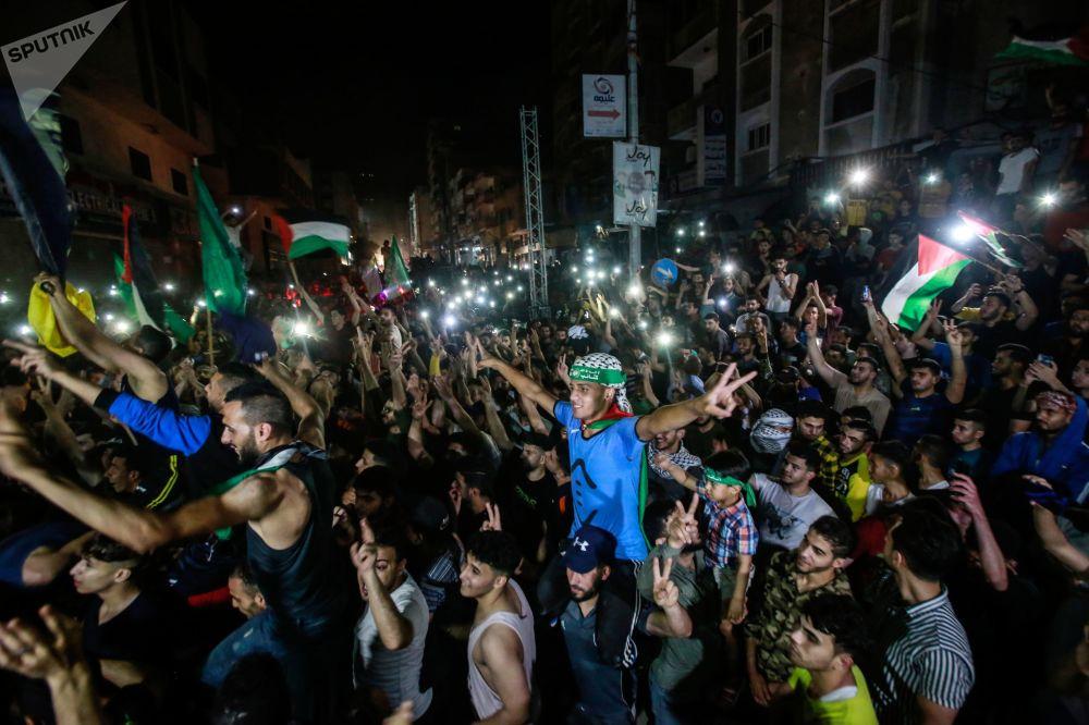 شادی مردم غزه از اعلام آتشبس