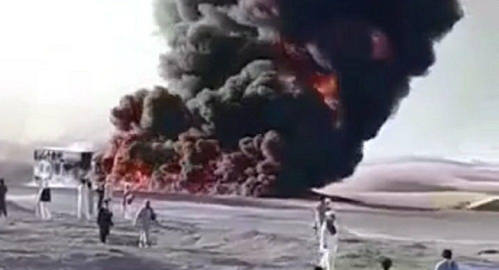 یک تانکر تیل در نیمروز آتش گرفت + ویدیو
