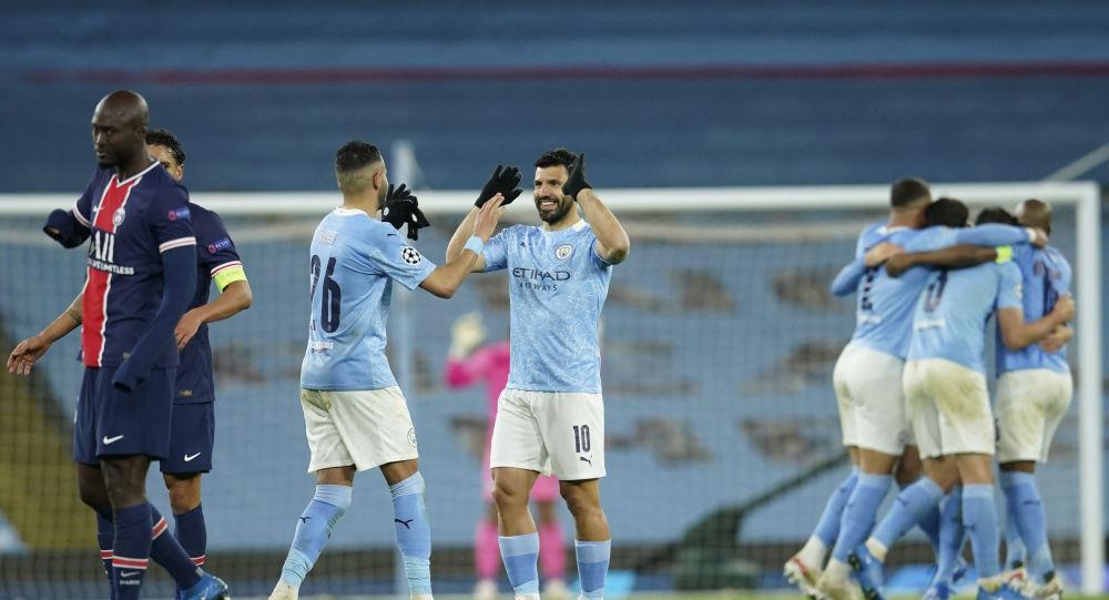 Sergio Aguero celebrates as Manchester City reach the Champions' League final