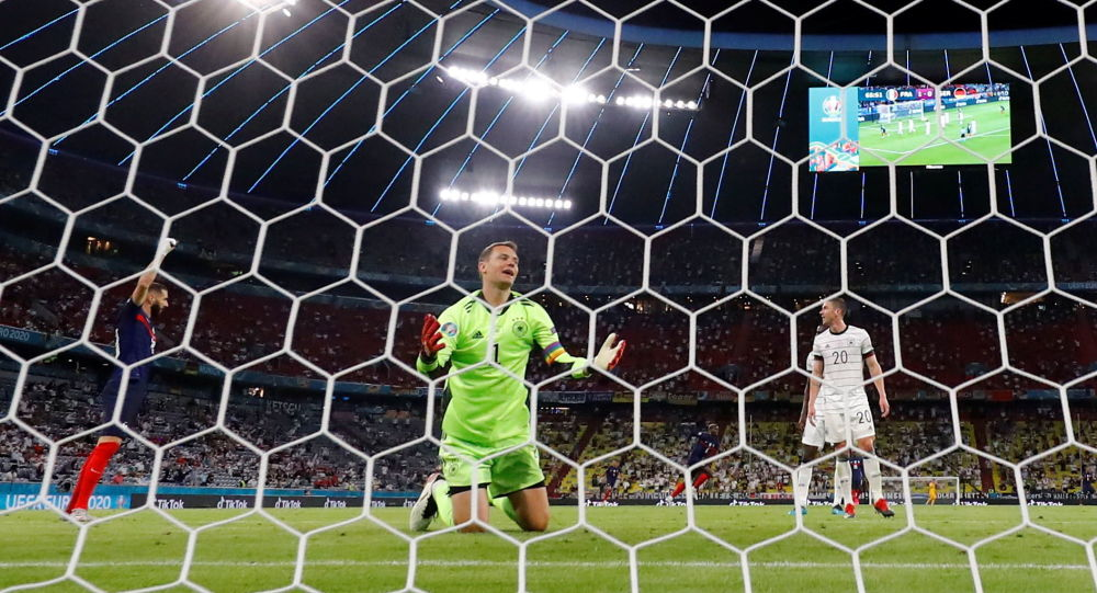 Germany's Manuel Neuer reacts before a goal scored by France's Kylian Mbappe is disallowed for offside, June 15, 2021