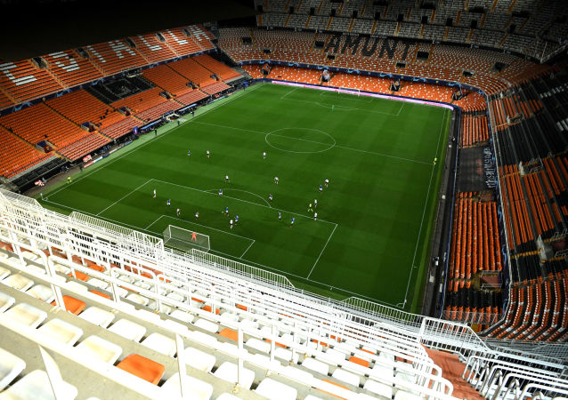 Soccer Football - Champions League - Round of 16 Second Leg - Valencia v Atalanta - Mestalla, Valencia, Spain - March 10, 2020  General view in the empty stadium as the match is played behind closed doors as the number of coronavirus cases grow around the world