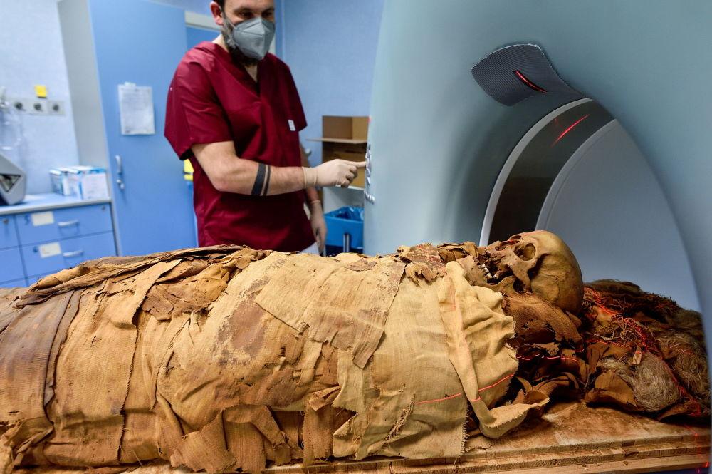 دانشمند در حال اسکن یک مومیایی مصری در میلان.