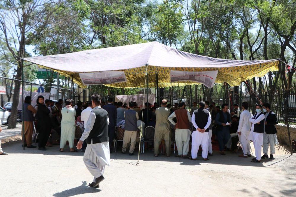 خیمه اعتراضی مردم تخار در شهر کابل.