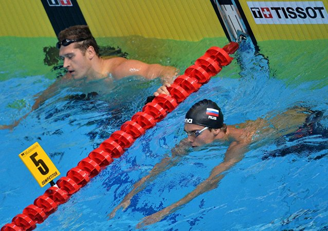 From left: Russia's Nikita Lobintsev and Vladimir Morozov
