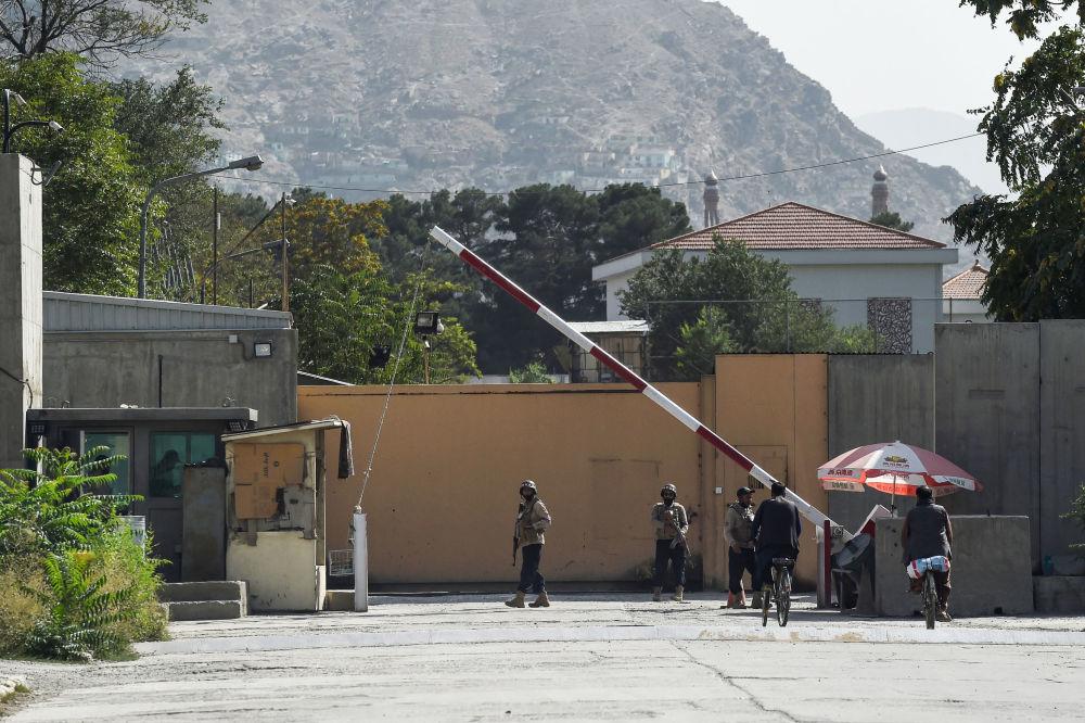 نیرو های امنیتی در منطقه سبز کابل.
