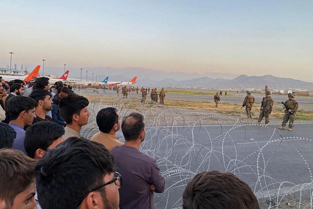 نظامیان آمریکایی در فرودگاه کابل.