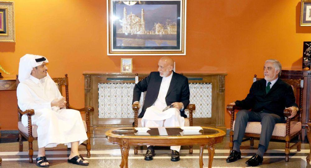 حامد کرزی و عبدالله عبدالله با امور خارجهی دولت قطر دیدار کردند