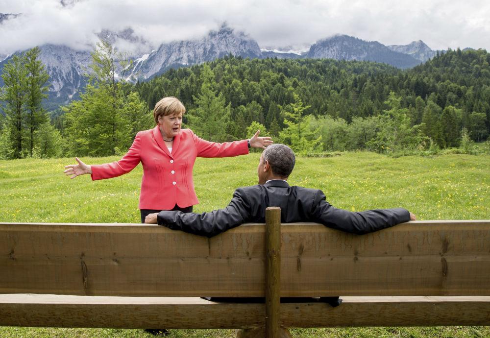 انگلا مرکل با بارک اوباما.