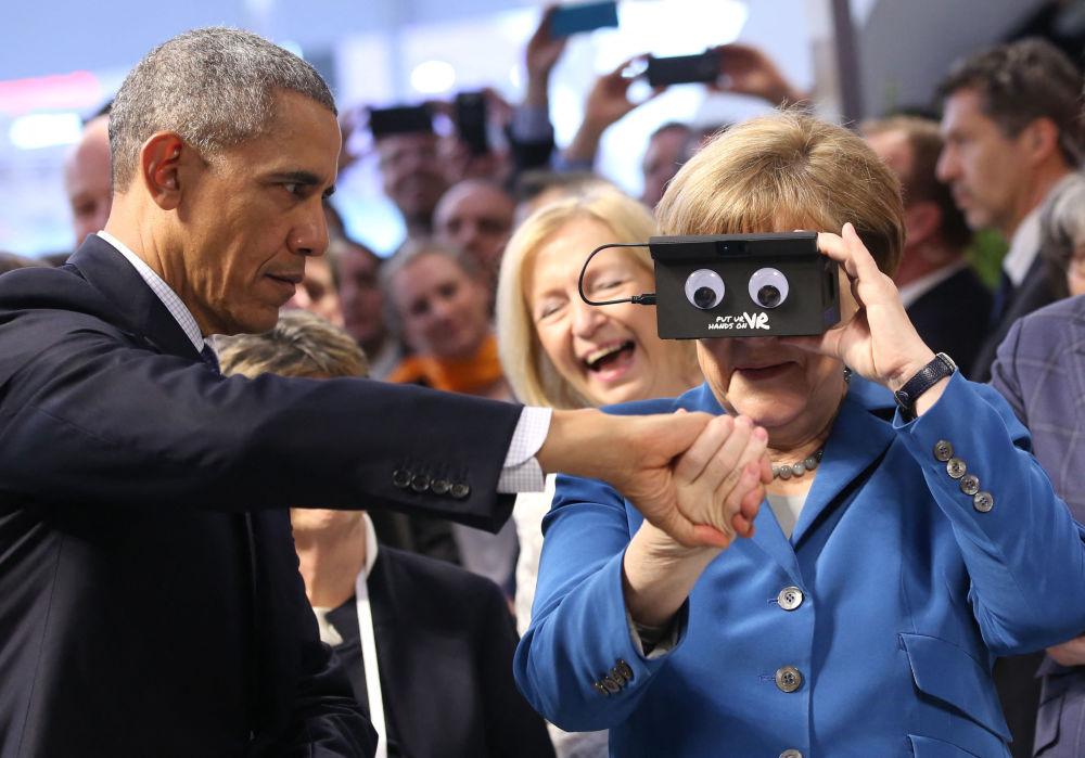 انگلا مرکل با رئیس جمهور آمریکا اوباما.