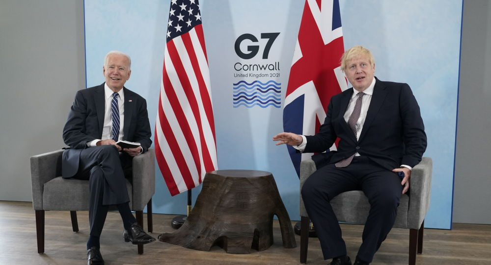 جو بایدن رئیس جمهور ایالات متحده آمریکا بوریس جانسون نخست وزیر بریتانیا