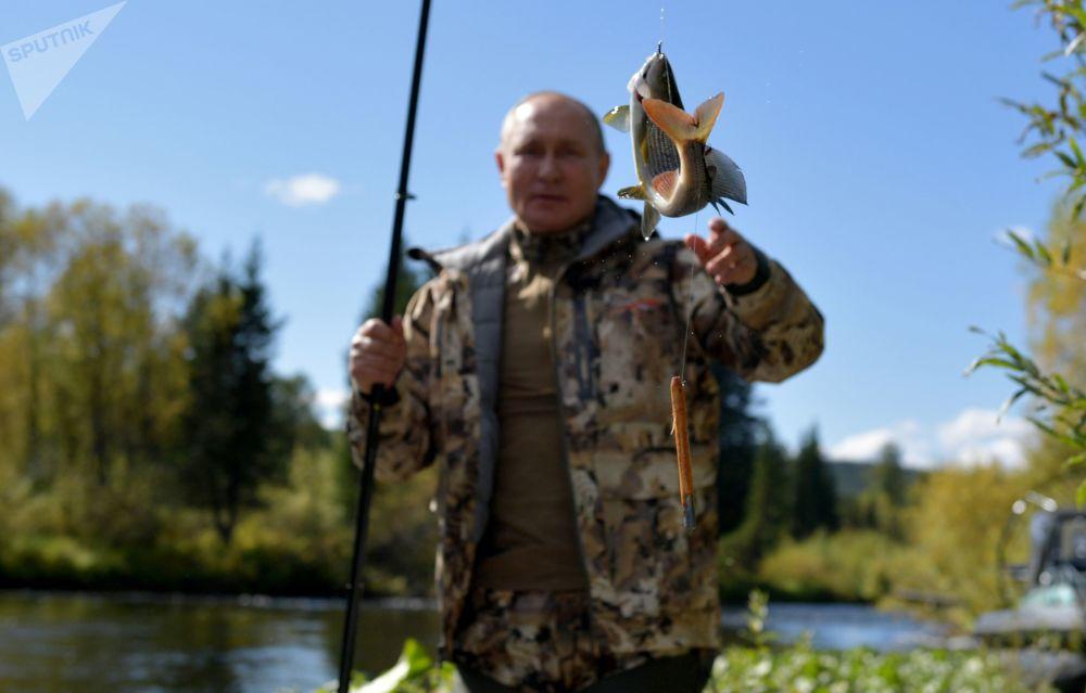 استراحت رئیس  جمهور روسیه در تایگا جنگل های سیبریا.