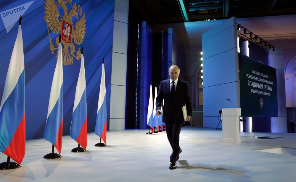 رئیس جمهور روسیه پس از پیام سالانه خود به مجمع فدرال این کشور/سال2021.