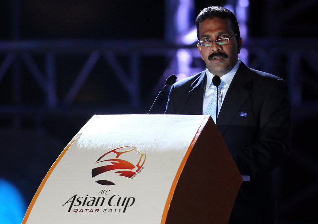 Asian Football Confederation (AFC) Secretary General Alex Soosay, addresses the public during the AFC Asian Cup Qatar 2011 mascot launching in Doha on November 11,2010