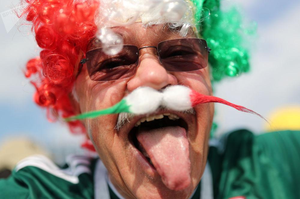 هوادار تیم ملی فوتبال مکزیک قبل از آغاز بازی تیم های آلمان و مکزیک