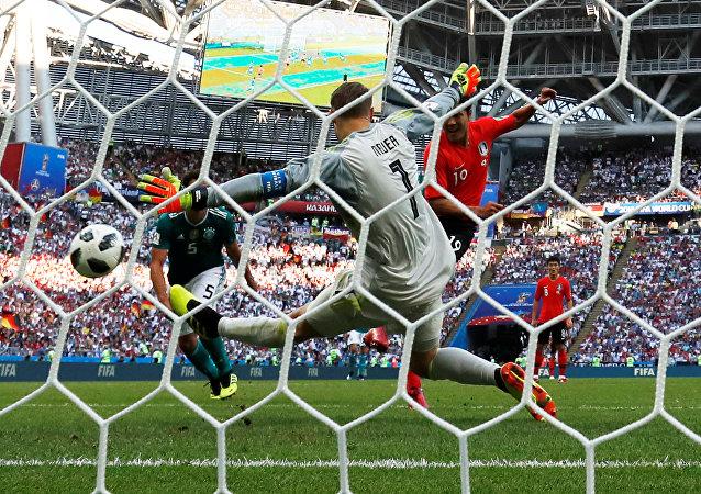 Soccer Football - World Cup - Group F - South Korea vs Germany - Kazan Arena, Kazan, Russia - June 27, 2018 South Korea's Kim Young-gwon scores their first goal past Germany's Manuel Neuer