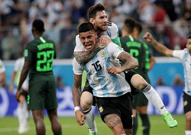 Soccer Football - World Cup - Group D - Nigeria vs Argentina - Saint Petersburg Stadium, Saint Petersburg, Russia - June 26, 2018 Argentina's Marcos Rojo celebrates scoring their second goal with Lionel Messi