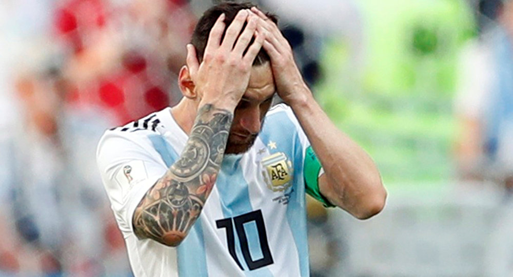 Soccer Football - World Cup - Round of 16 - France vs Argentina - Kazan Arena, Kazan, Russia - June 30, 2018 Argentina's Lionel Messi reacts during the match