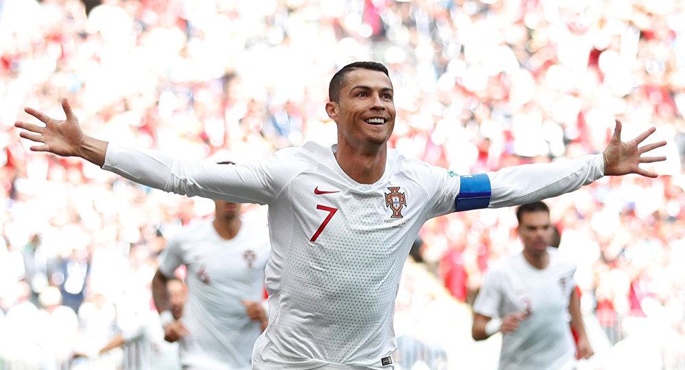 Soccer Football - World Cup - Group B - Portugal vs Morocco - Luzhniki Stadium, Moscow, Russia - June 20, 2018 Portugal's Cristiano Ronaldo celebrates scoring their first goal