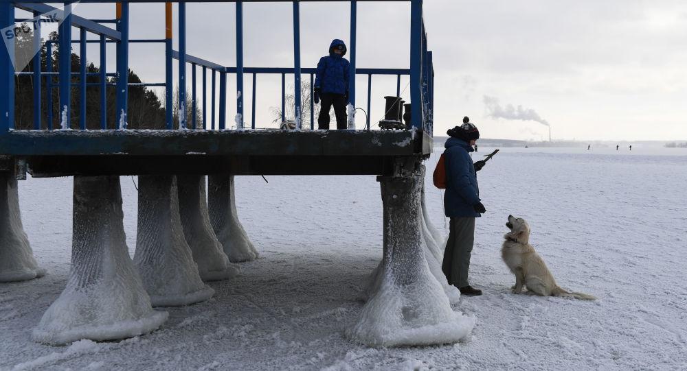 سرما در نیوسیبرسک روسیه