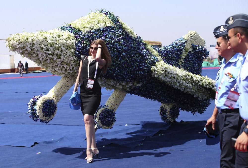 جت ساخته شده از گل در نمایشگاه آیرو ایندیا - ۲۰۱۹ - شهر بنگلور، هند