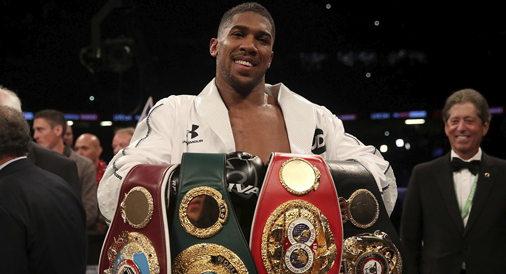 Anthony Joshua holds the WBA, IBF and WBO belts after beating Joseph Parker in Cardiff