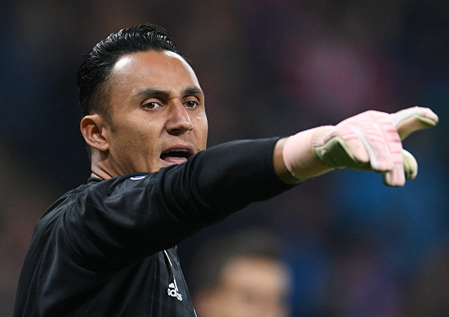Real's goalkeeper Keylor Navas gestures to his teammates during the Champions League group G soccer match between CSKA Moscow and Real Madrid, in Moscow, Russia, October 2, 2018.